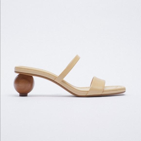 Zara wood heeled leather sandal